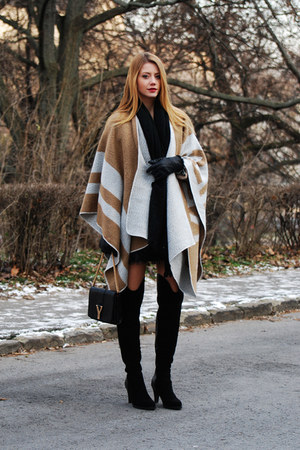 camel poncho OASAP cape - black Jessica Buurman boots - black H&M scarf