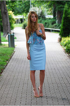 sky blue siffon OASAP top - sky blue pencil Zara skirt