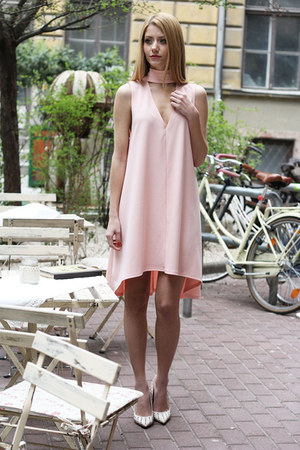 light pink cut out Nanaa dress - off white studded Zara heels