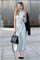 heather gray jumpsuit AX Paris romper - black motorcycle style moi jacket