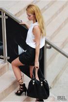 black mini skirt H&M skirt - white sleeveless H&M top