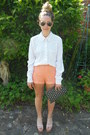 Polka-dot-topshop-shirt-studded-clutch-primark-bag-lace-forever-21-shorts