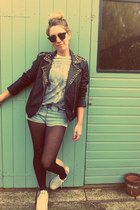 leather Goldie London jacket - acid wash denim American Apparel shorts