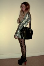 polka dot H&M tights - black litas Jeffrey Campbell shoes