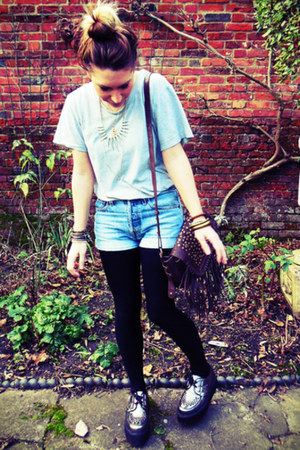 fringe tassle vintage bag - Underground Creepers shoes - Urban Outfitters shorts