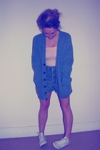 blue knitted vintage from Ebay cardigan - denim vintage shorts