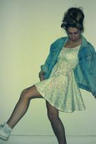 floral Topshop dress - denim biker vintage jacket - frill ankle Topshop socks