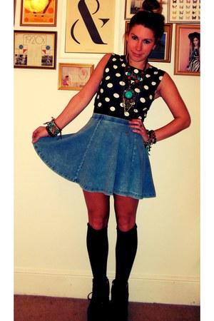 skater skirt Topshop skirt - platform 90s Office boots - Topshop top