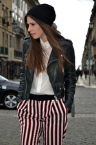 leather Mango jacket - white Zara shirt - striped Mango pants