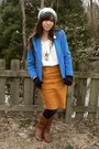 Blue-thrifted-blazer-white-thrifted-blouse-gold-thrifted-skirt-black-hue-t