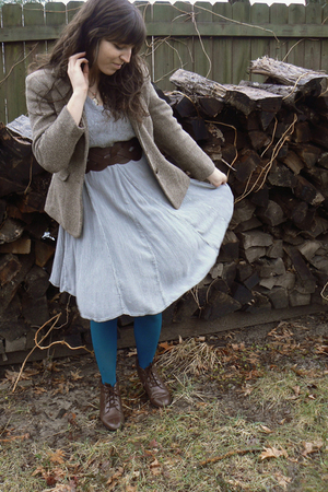 blue thrifted dress - brown thrifted shoes - brown thrifted blazer