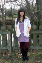 white kohls sweater - purple H&M dress - silver thrifted necklace - purple HUE t