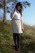 white thrifted blouse - beige thrifted skirt - black HUE tights - black thrifted