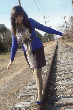 blue Old Navy shirt - brown Tieka scarf - silver H&M belt - beige Target H&M tig