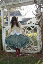 yellow Old Navy sweater - white Old Navy top - green thrifted skirt - red HUE ti