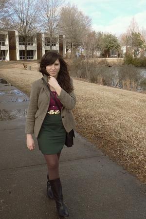 brown thrifted blazer - purple Gap blouse - black H&M belt - green thrifted skir