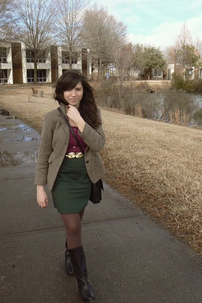 brown thrifted blazer - purple Gap blouse - black H&M belt - green thrifted skir
