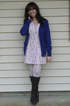 blue American Apparel cardigan - pink thrifted dress - white Forever 21 tights -