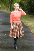 orange Review cardigan - black lace up boots - orange tartan midi modcloth skirt