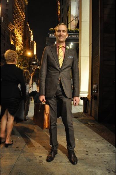 Men's Brown Zara Suits, Yellow FineAndDandyShopcom Ties, Blue ...