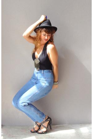vintage jeans - vintage hat - vintage from etsy bodysuit