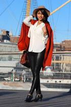 camel Urban Outfitters hat - leopard print Aldo bag - liquid leggings Zara pants