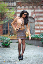 leather jacket BCBG jacket - free people dress - nude Chanel bag - Bakers heels