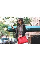 black Zara shorts - red Yves Saint Laurent bag - black Jimmy Choo glasses