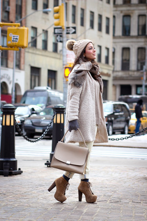 brown Jeffrey Campbell boots - off white pull&bear coat