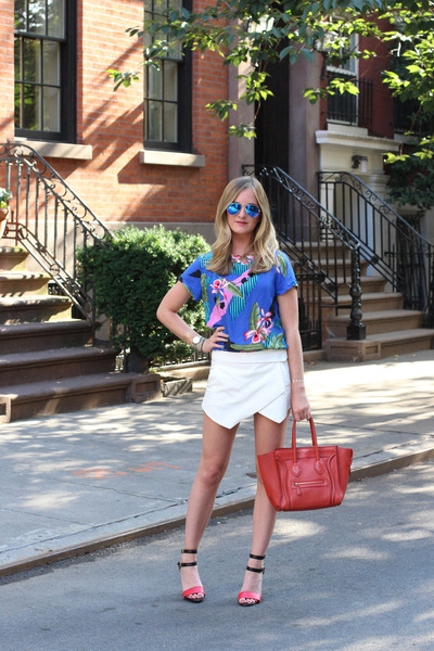 red Celine bag - red Forever 21 heels - white Zara skirt - blue ray-ban glasses