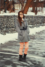Black-ruched-forever21-blazer-dark-gray-combat-boots-taxi-boots