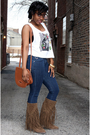 faux suede Forever 21 boots - hollister jeans - leather Dooney & Bourke bag