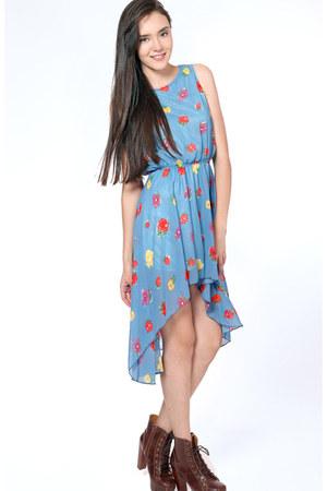 blue hi lo floral Flauntcc dress