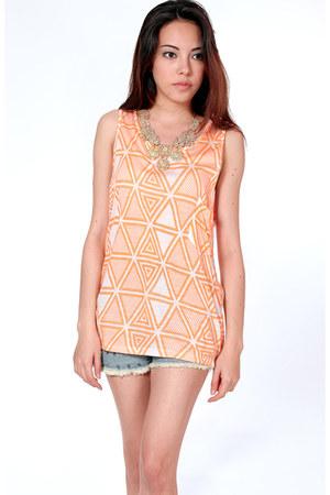 orange aztec Flauntcc top