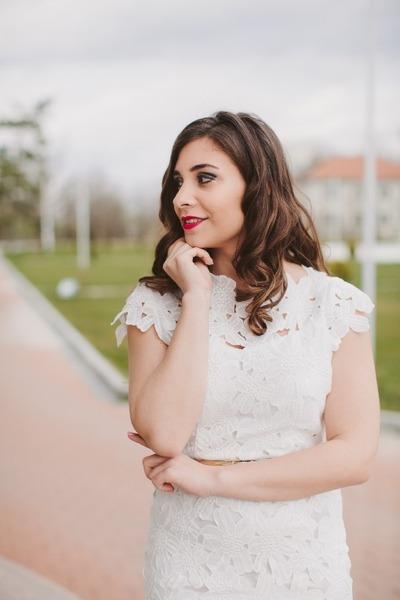 white Sheinside dress - Bershka belt