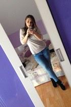 black Bershka shoes - blue Mango jeans - beige casual brown Bershka blouse