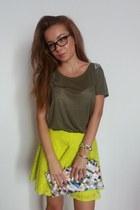 neon Topshop skirt - paper bag handmade bag - H&M t-shirt - diva bracelet