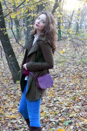 dark brown Zara boots - army green Stradivarius coat - blue H&M jeans