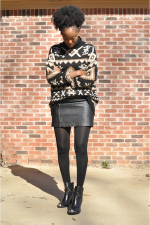 dark brown tribal Zara sweater - black leather Schutz boots