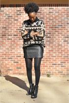 dark brown tribal Zara sweater - black leather Schutz boots
