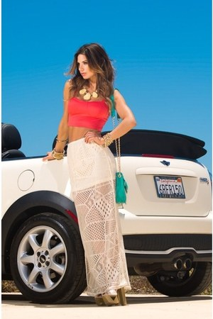 coral bralette cotton FlirtNation top - eggshell maxi crochet FlirtNation skirt