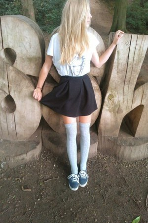 black River Island skirt - navy Vans shoes - off white Billabong shirt
