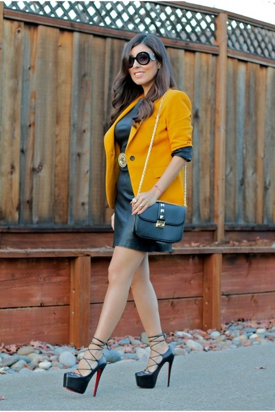 Zara blazer - Christian Louboutin shoes - Zara dress - Forever 21 bag