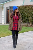 Lulus coat - Givenchy boots - American Apparel hat - Forever 21 shirt