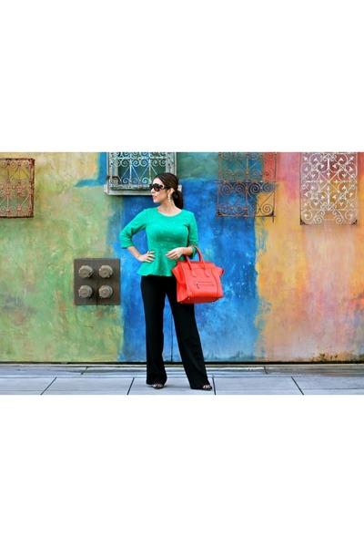 lace Anthropologie top - Celine bag - Zara pants - Shoe Dazzle heels