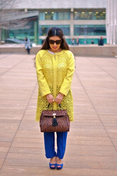 blue milly pants - blue Aldo shoes - mustard rachel roy coat - brown Aldo bag