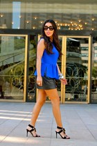blue peplum Zara top - black leather Zara skirt - black Gucci heels