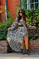 golden Zara belt - leather Aldo shoes - Kardashian Kollection dress