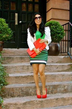 red Zara bag - ivory Urban Outfitters blazer - red Steve Madden heels