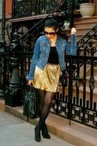 mustard Forever 21 skirt - navy H&M jacket - black Steve Madden heels